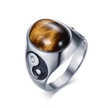 Vintage Men's Tiger Eye Stones with Yin Yang Symbol Ring