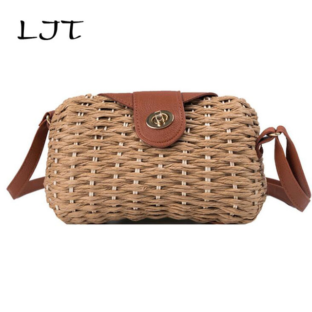 LJT Women Vintage Rattan Handbag Female Bohemian Summer Beach Straw Bags Lunch Picnic Box Weave Bag Handmade Casual Large Tote