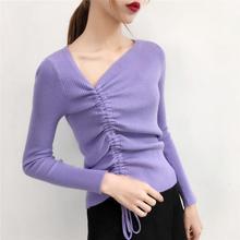 5 Colors Korean Black Sweater Women 2019 New Fashion Drawstring Slim Basic Womens Sweaters Elegant Lady Yellow Pull Femme S-XL