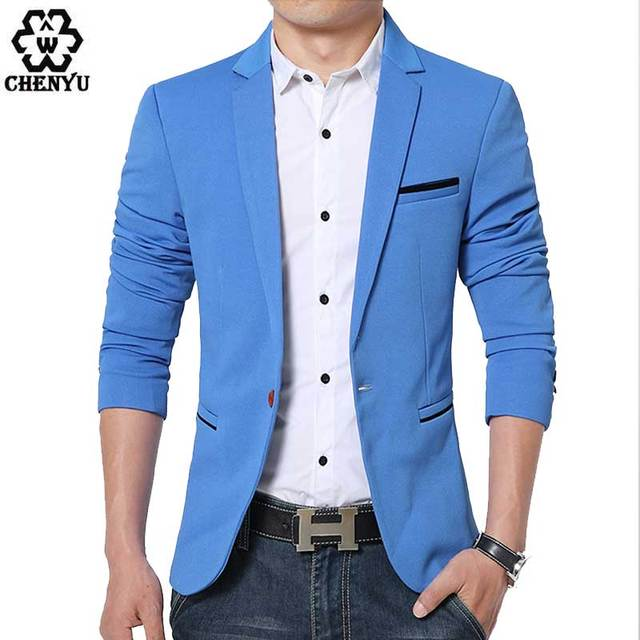 d6659a106bd5e Male blazers Mens coat Wedding dress Mens Korean slim fit fashion cotton  blazer Suit Jacket black blue beige plus size M to 6XL