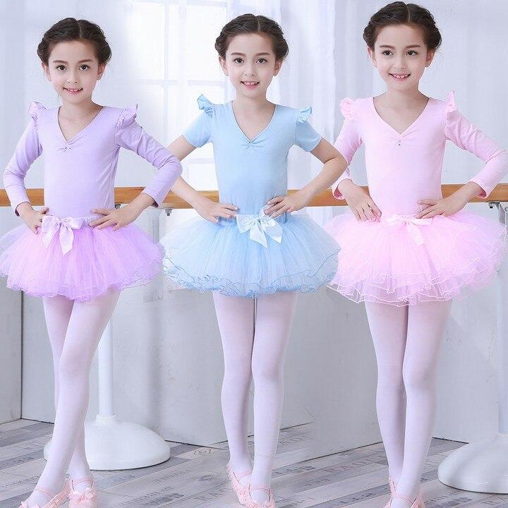 Long/Short Sleeve Ballet Leotard For Kids Ballet Tutu Dress Practice Gymnastics Leotard For Girl Dance Dress Children Costume