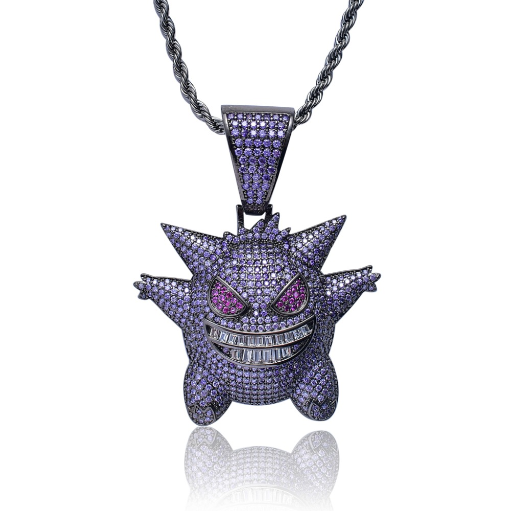 Hip Hop Anime Gengar Iced Out Purple AAA+Cubic Zircon Hiphop Pendants&Necklaces Pokemon Charm Collares Cosplay Cool Jewelry