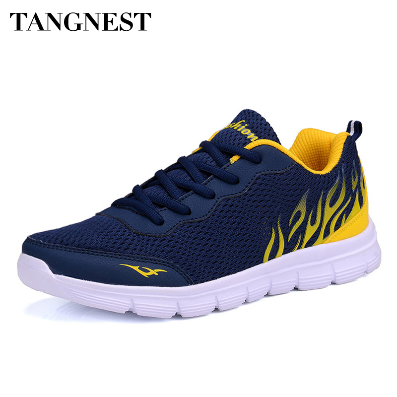 Tangnest 2017 Casual Men Shoes Summer Style Mesh Flats Lace Up Man Loafers Creepers Casual Shoes Plus Size 38~45 XMR1829 стоимость