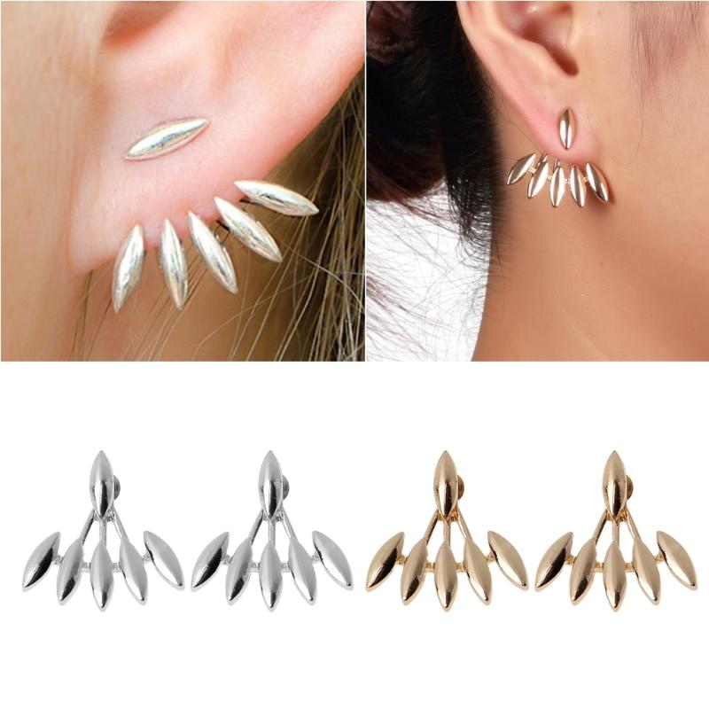 Women Sharp Lotus Crawler Stud Earring Cuff Climber Geometric Statement Earring W715