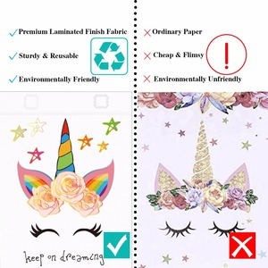 Image 4 - 20PCS Hot Sale Unicorn Shopping Bag Laminated Waterproof Non woven Gift Bag Kids Birthday Party Gift Tote Bag Unicorn Party Bags
