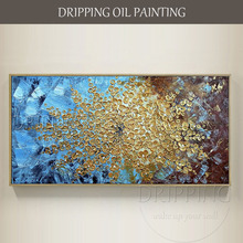 Artist Hand-painted High Quality Modern Wall Art Flower Oil Painting on Canvas Brushes Knife Blue Background