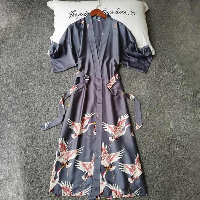 Kadın Ipek Zarif kırmızı-taçlandırılmıştır Vinç Baskı Sabahlık Kadın Saten Kısa Kollu Kimono Bornoz Nedime Robe Pijama