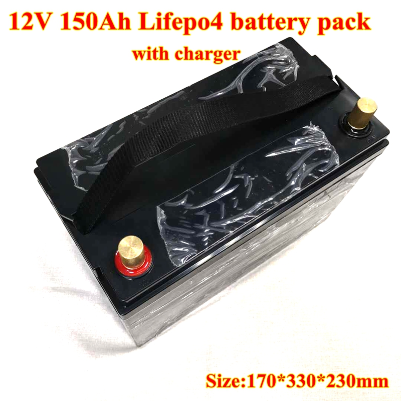 12V 150AH Lifepo4 Batterie with 100A Discharger BMS for Golf Carts ATV Dune Buggy EV Solar