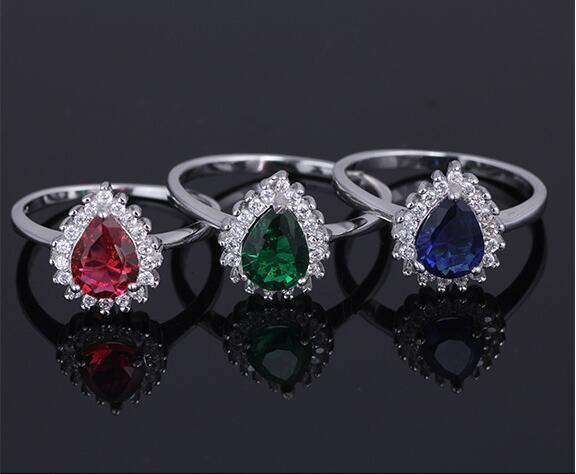 Danki Brand New Silver Ring Women Class Imitation Sapphire Ring Romantic Lover Valentine's Gift Created Emerald Engagement Ring