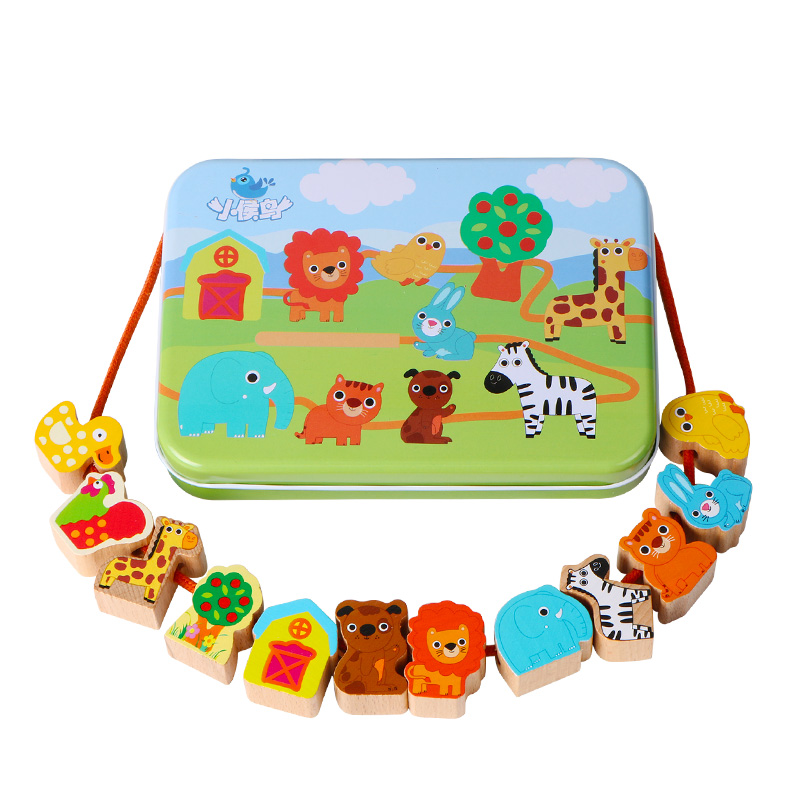 Wooden Toy Cartoon Animals Fruit DIY Toy Beads Toy  Stringing Threading Beads Game Education Toy For Baby Kids Children