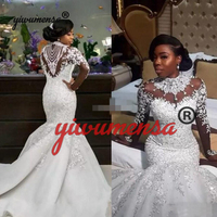 Robe De Marriage 2019 African Nigerian Mature Woman Fish Wedding Dresses With Pearls Plus Size Appliques Lace Mermaid Long Dress