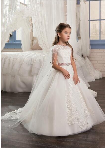 White ivory bloemenmeisjes jurk Children First Communion Dresses for Girls 2018 Ball Gown with Belt Flower Girl Dress