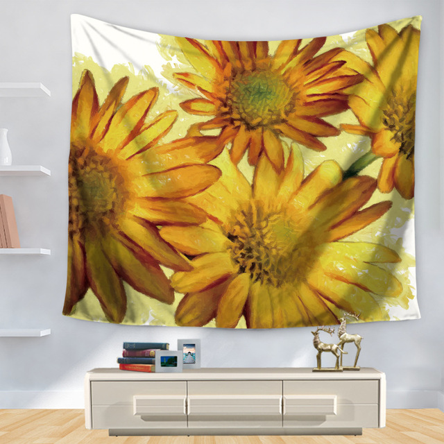 CAMMITEVER Golden White Pink Orange Sun Flowers Floral Tapestry Wall ...