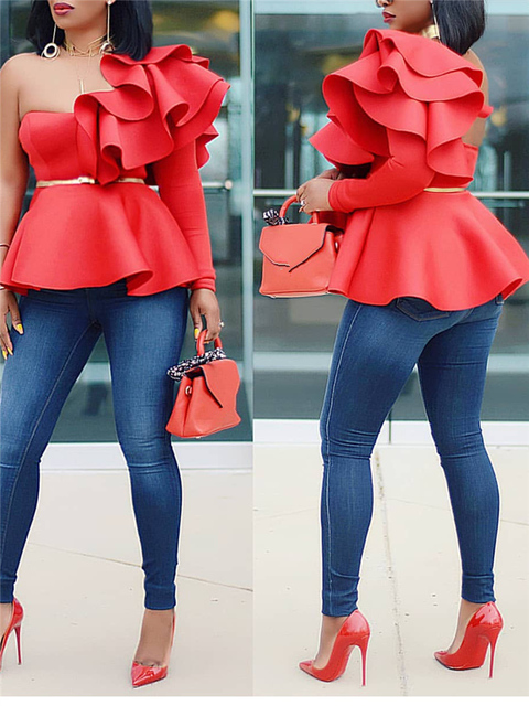Women Blouse Tops Shirts One Shoulder Sexy Peplum Ruffles Slim Party Wear 2019 Summer New Fashion Elegant Ladies White Red Bluas