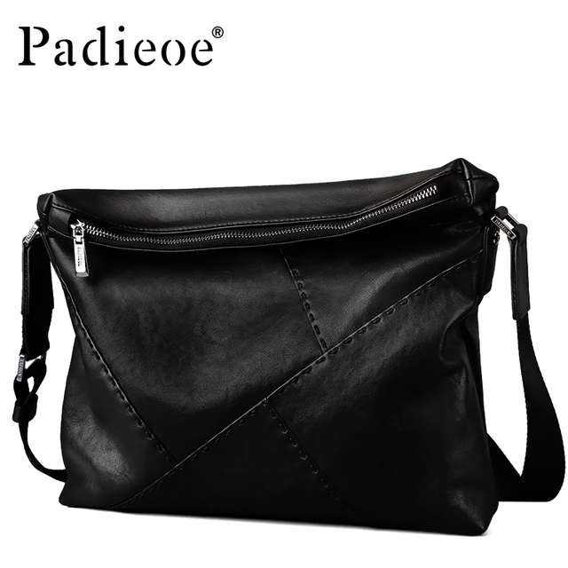 Paoe Luxury Brand Men Genuine Leather Shoulder Messenger Bags Black Male Handbags Business Man Crossbody Sling