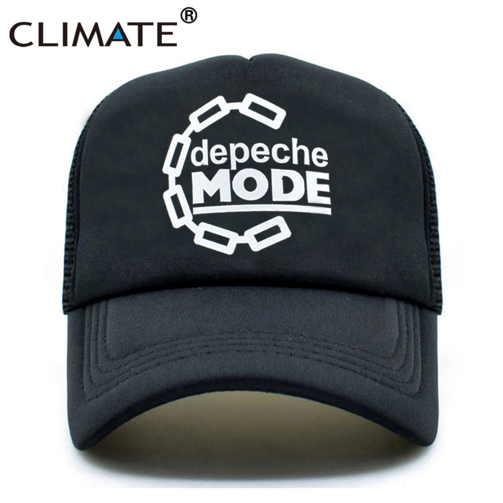 CLIMATE Men Women Black Trucker Cap Depeche Mode Band Club Rock Pop Punk Music Summer Cool Baseball Mesh Net Trucker Caps Hat climate men summer black mesh caps star wars bounty hunter fans cool summer baseball cap black net trucker caps hat for men
