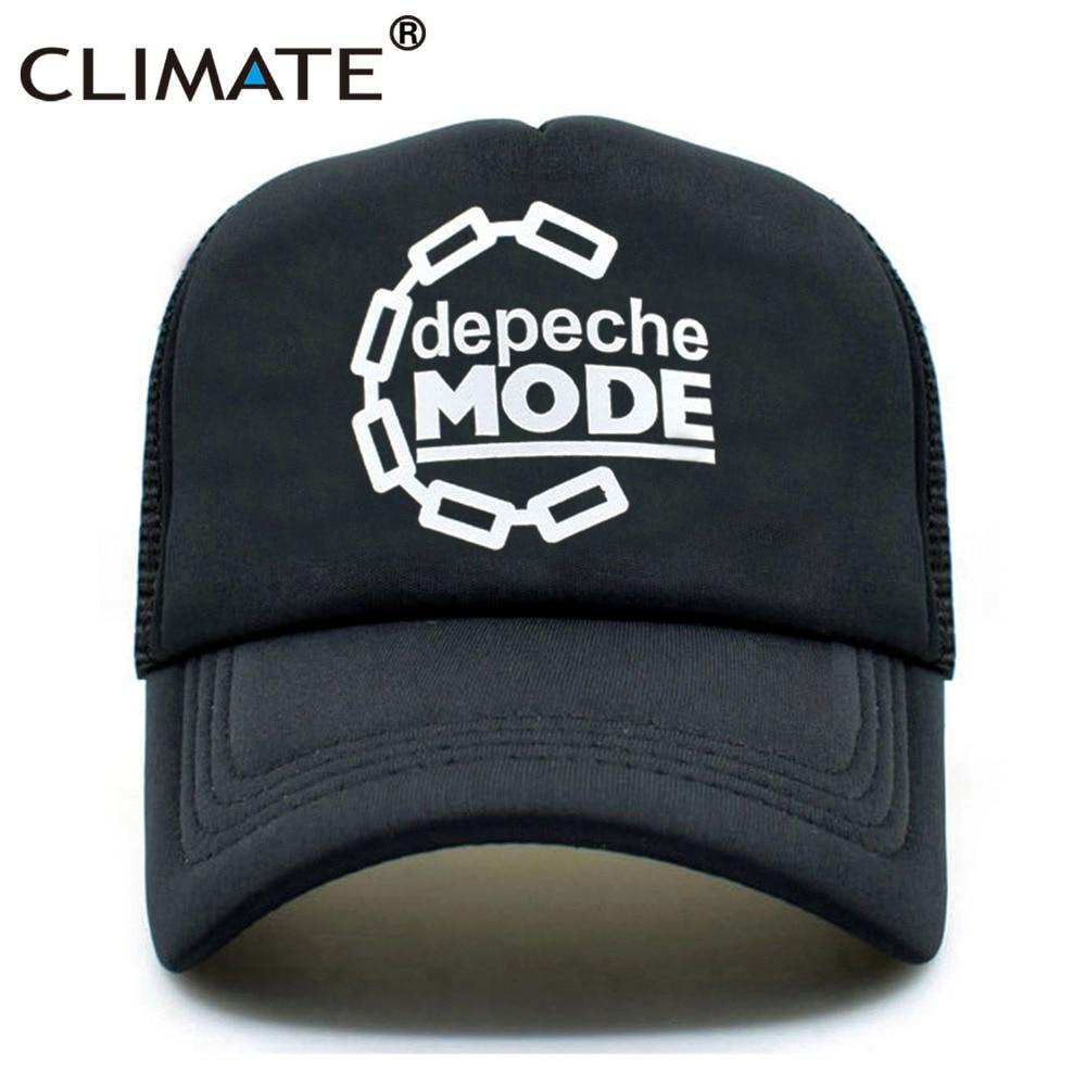 CLIMATE Men Women Black Trucker Cap Depeche Mode Band Club Rock Pop Punk Music Summer Cool Baseball Mesh Net Trucker Caps Hat