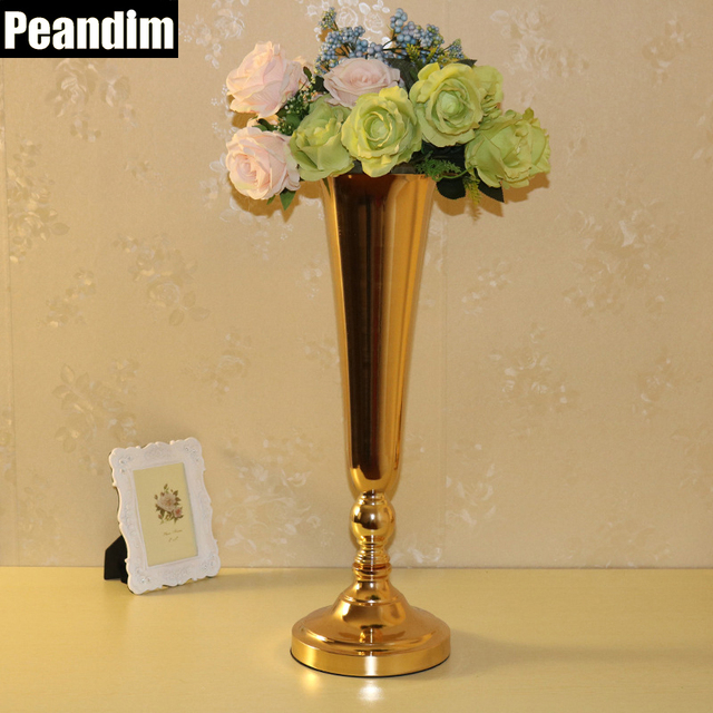 Peandim Fantastic Wedding Ideas Decoration Golden Metal Flower Vase