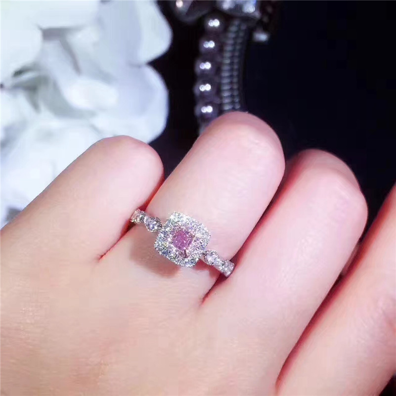 14K Gold pink diamond Ring Square Wedding Band Gemstone Amethyst Rings for Women anillos jade Jewelry peridot Bizuteria in Rings from Jewelry Accessories