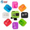 Gopro accesorios de la cámara de silicona suave cubierta de la caja para gopro hero 5 caso de vivienda negro marco de la bolsa protector