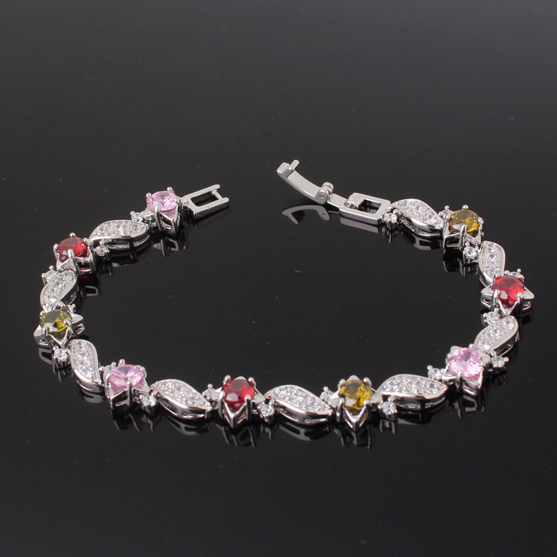 BUDONG 18cm Fashion Hand Bracelets for Women Silver/Gold Color Bracelet Pink Crystal Cublic Zirconia Jewelry Bangles XUL104 16