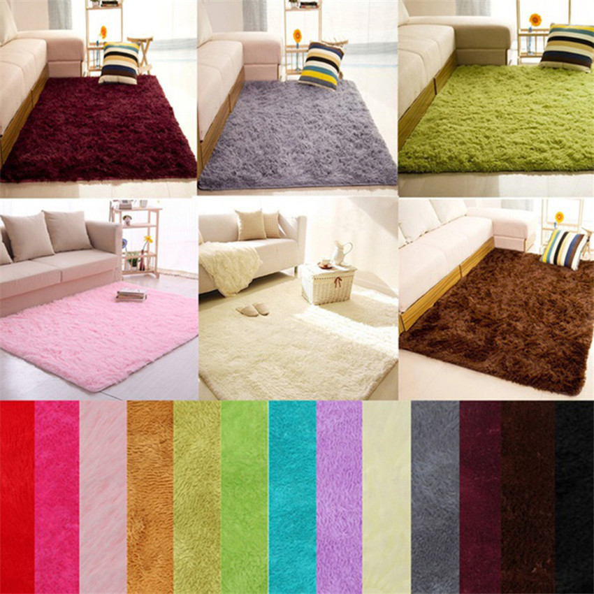 40*60cm New High Quality Soft Fluffy Rugs Anti-Skid Shaggy Area Rug Dining Room Home Bedroom Carpet Floor Mat  Dropshipping fkk4