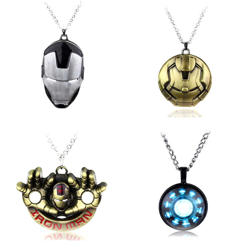 The Avengers Endgame Superhero Iron Man Mask Pendant Necklace Metal Alloy Marvel Movie Ironman Jewelry Graduation Gift Friend