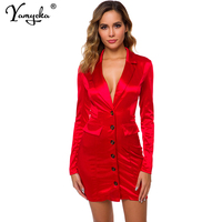 Sexy Satin neon Summer Dress women Notched Long sleeve Red yellow pink club bodycon Wrap party dress elegant Button vestidos New