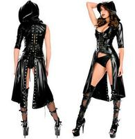 2016 New Arrival Sexy Gothic Punk Fetish Black Latex Catsuit Faux Leather Costume PU Jumpsuit