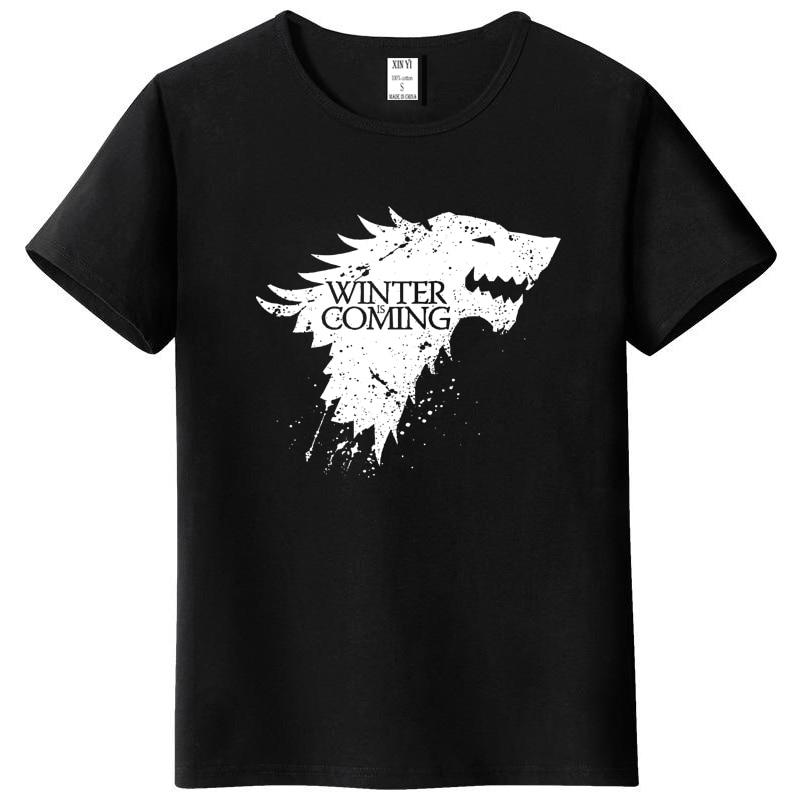 Stark cotton short sleeve Game of Thrones Men   T  -  shirt   casual men tshirt Tops Tees WINTER IS COMING MEN   T     shirt   2018