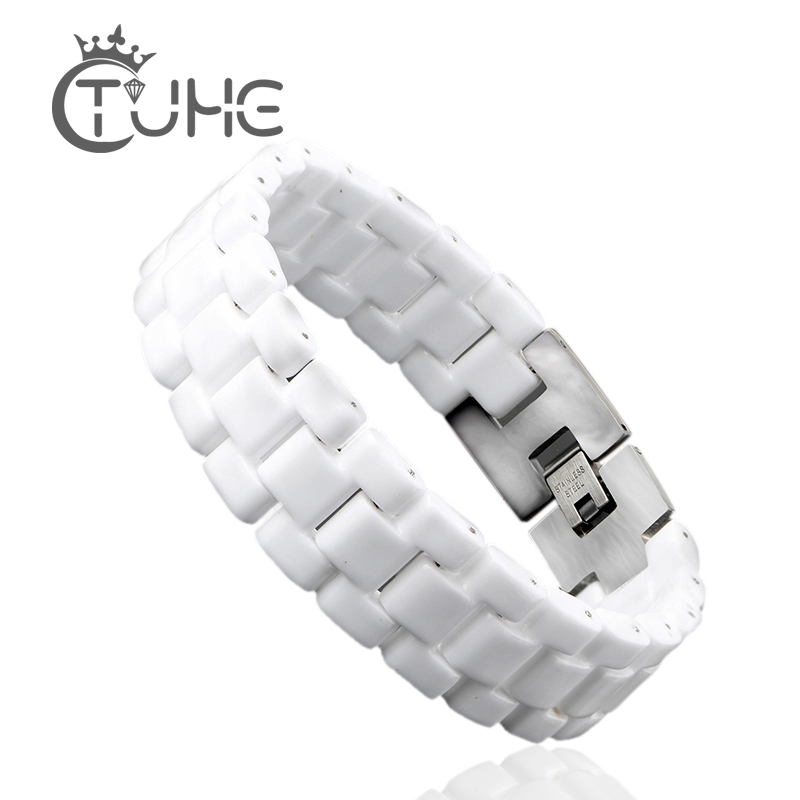 Unisex Fashion Mænds Armbånd Elegant Smykker Hvid Konvekst Strap Keramisk Armbånd For Mænd Kvinder 22cm Watch Link Armbånd Holdbart
