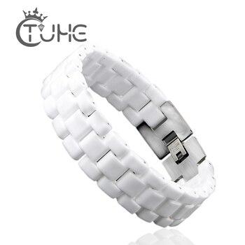 Unisex Fashion heren Armband Elegante Sieraden Wit Bolle Band Keramische Armband Voor Mannen Vrouwen 22 cm Horloge Link Armband duurzaam