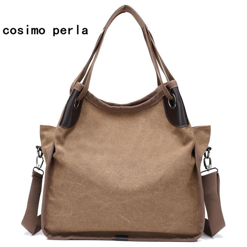 Solid Color Large Women Canvas Handbag Mother Gift Famous Designer Causal Hobos Shoulder Crossbody Bag Travel Shopper Sac a Main