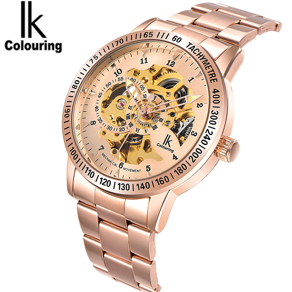 IK Cool Orologio Uomo Men Automatic Mechanical Watch Skeleton Watch For Men's Dress Wristwatch  Gift Free Ship  original mg orkina orologio uomo luxury day flywheel automatic mechanical watch wristwatch gift box free ship