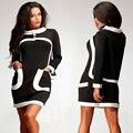 Женщины одеваются Новый стиль О-Образным Вырезом Над коленом мини Полный полосатый Сексуальная черное платье платье-де-феста офисная одежда