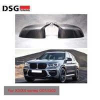 Gloss Black Carbon Fiber Mirror Cover For BMW X3 G01 X4 G02 X5 G05 Side Door Rearview Caps 2018 2019 xDrive30d M40i