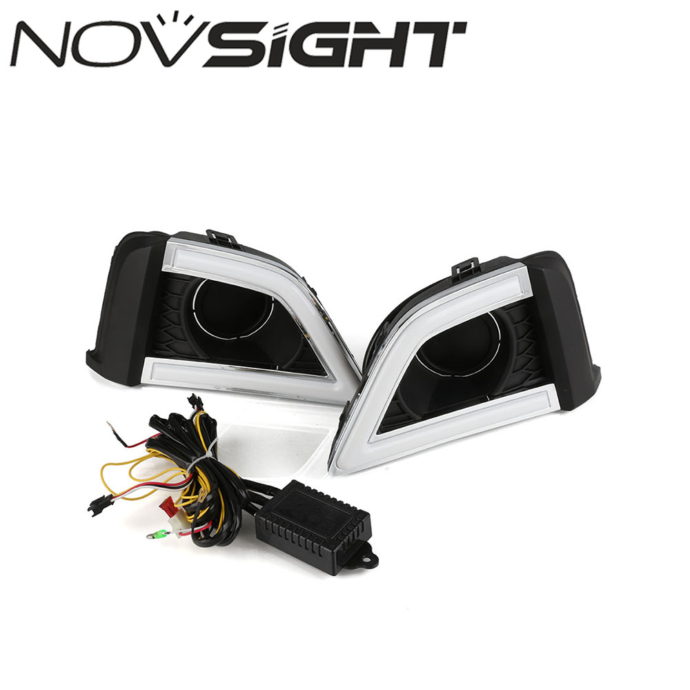 NOVSIGHT Car Driving Daytime Running Light White Turn Signal Yellow Blue LED Daylight DRL For Honda Fit 2014-2016 Free Shipping new auto car led light drl driving daytime running lights white yellow daylight for honda odyssey 2012 2014 free shipping d35