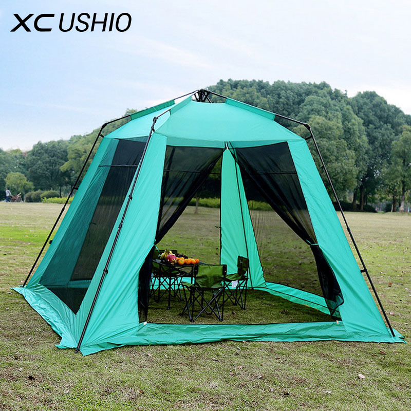 5-8 Person Large Space Automatic Tent Summer Outdoor Camping Family Party Garden Gazebo Pavilion Mosquito Net Play Tent mongolian yurt tent fishing mosquito net picnic family outdoor camp summer beach camping tent 5 person waterproof
