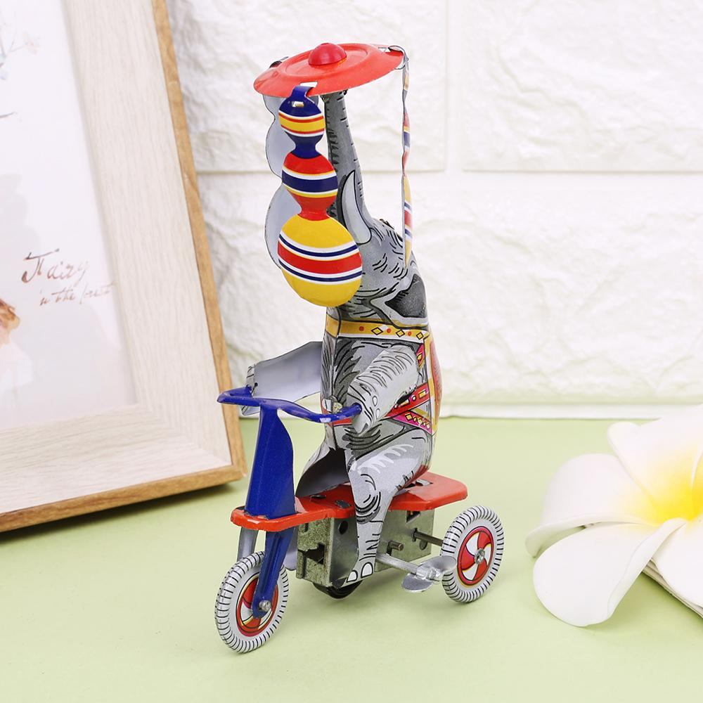 Elephant Tricycle Metal Toys Clockwork Spring Rotation Memorial Collection Toy