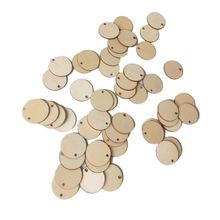 50pcs Unfinished Round Wooden Discs Ornament Embellishments For Scrapbooking DIY Craft One Hole Handmade Home Decor 40mm