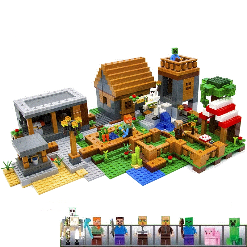 Model building kits compatible with legoed 21128 my worlds Village blocks Educational toys birthday gifts Christmas gift