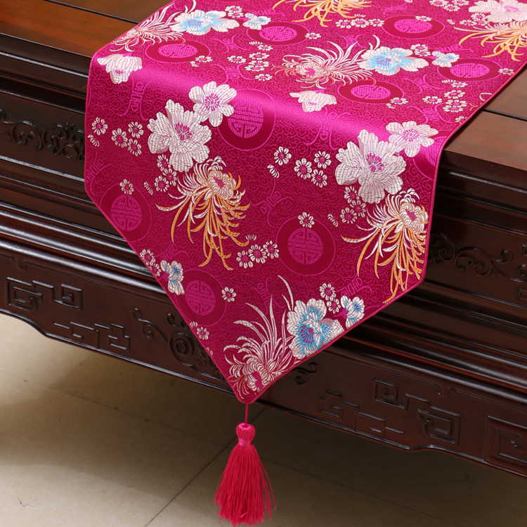 Happy Elegant Dobby Table Runner Smooth Protective Mats Chinese Style High  End Damask Fabric Decoration Coffee