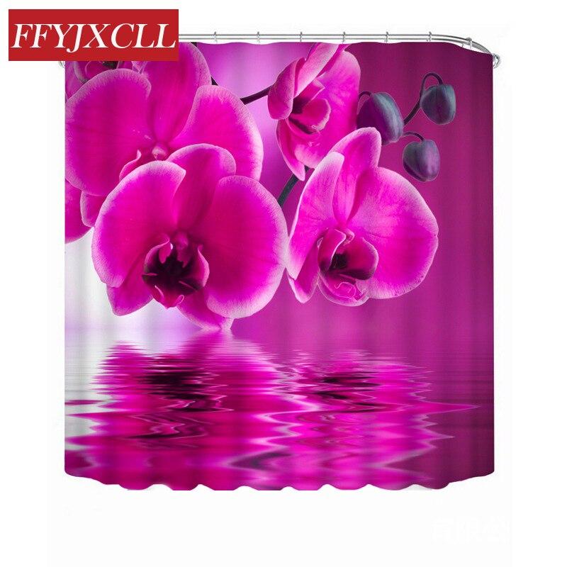 Purple Phalaenopsis Big Rose Sunflower Beautiful Bloom Polyester Fabric Shower Curtain Waterproof Mildew Bathroom Curtain