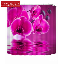 цены на Purple Phalaenopsis Big Rose Sunflower Beautiful Bloom Polyester Fabric Shower Curtain Waterproof Mildew Bathroom Curtain в интернет-магазинах
