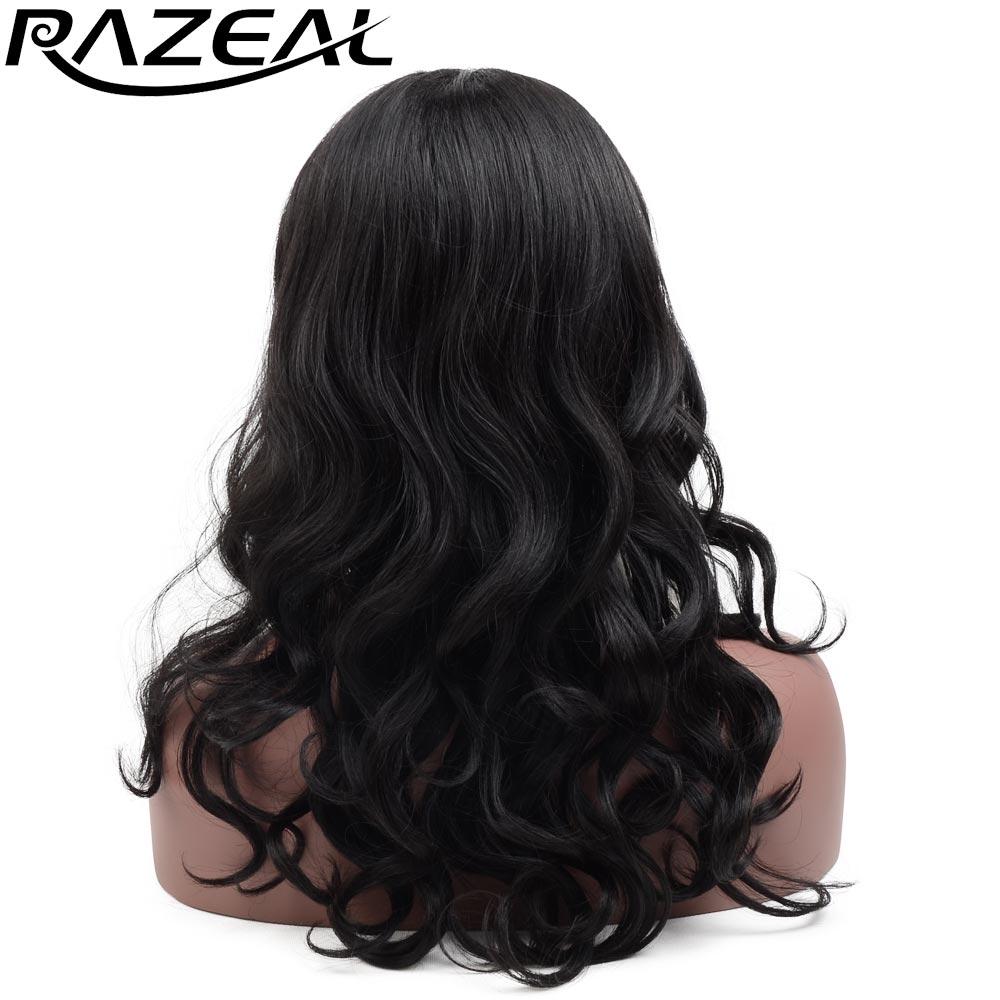 Razeal 20inch Svart Blond Syntetisk Spets Fram Wig Varmtålig Lång Vågigt Hår För Kvinnor Peruca Feminina Swiss Lace L Parti