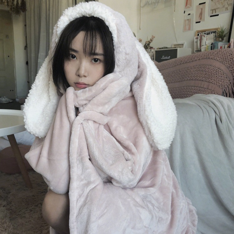 Cute Pink Comfy Blanket Sweatshirt Winter Warm Adults and Children Rabbit Ear Hooded Fleece Blanket Sleepwear Huge Bed Blankets 79
