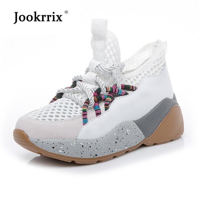 Jookrrix белые туфли Для женщин брендовые кроссовки на платформе дамские chaussure осень, для женщин обувь дышащие девушка универсальные повседневная обувь