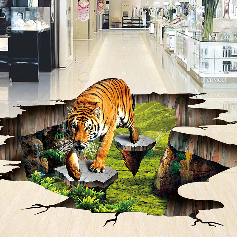 3D Stereo Lifelike Tiger Flooring Mural Wallpaper Park Outdoor 3D Floor Tiles Sticker Non-slip Waterproof Thickened 3D Wallpaper