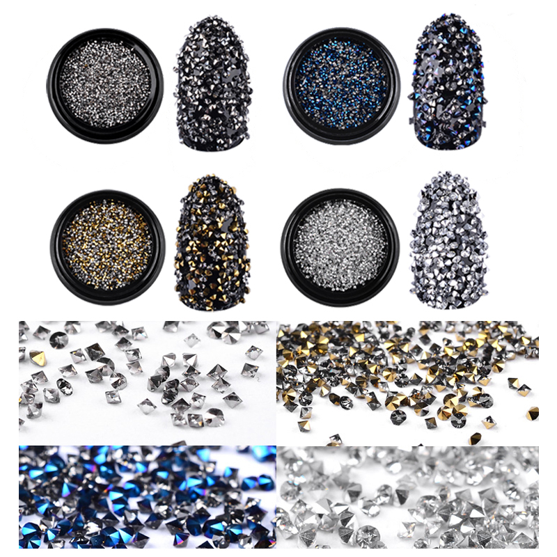 Glitter Micro Rhinestones Sharp End Shiny 3d Tiny Crystal Accessories 1000Pcs Box Colorful For DIY Manicure Nail Art Decorations in Rhinestones Decorations from Beauty Health