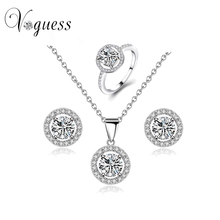 2016 VOGUESS Hot Selling Rhinestone Crystal Necklace Earrings and Rings Wedding Jewelry Sets Fashion Women Accessories